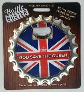 GOD SAVE THE QUEEN - Bottle Buster BRIT 3-1 Bottle Opener Coaster Fridge Magnet
