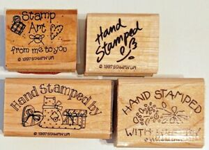 Stampin' Up! Hand Stamped By 1997 Set, Used, Xclt Condition, Set of 4  Wood Mnt