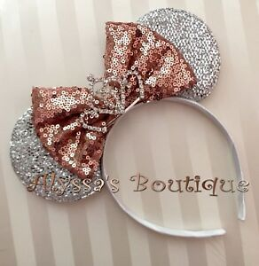 Minnie Mouse Ear Tiara Headband Shiny Silver Rose Gold Bow Birthday Party Bridal
