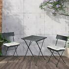 Patio Black PE Wicker Folding Bistro Set One Table With Two Chairs And Two Beige