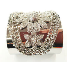 Extra Wide Silver Chain And Flower Design Sparkle Clear Crystal  Cuff Bracelet