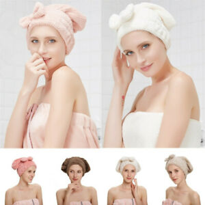 Women Double Thick Dry Hair Cap Girls Bow Shower Towel Hat Wrap Head Band Turban