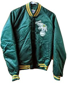 Vtg 90s Oakland Athletics A's Satin Jacket by Chalk Line Size Med Made in USA