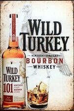 Wild Turkey bourbon beverage bar brand new.  tin metal sign MAN CAVE