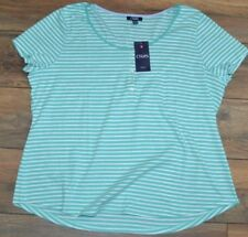 Chaps Turquoise & White Striped Top T-Shirt Beach View Tee MSRP $50.00