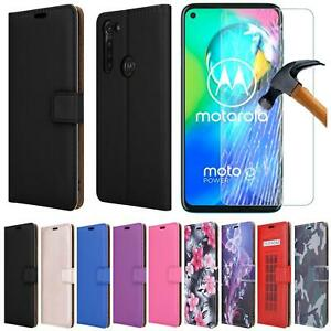 For Motorola G8 Power Case, XT2041, Leather Wallet Phone Cover + 9H Screen Glass