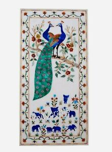 Peacock Art with Gemstones Wall Panel Modern Marble Coffee Table 18 x 36 Inches