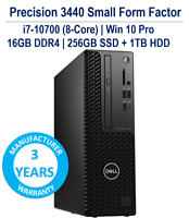 Dell Precision SFF 3440 i7-10700 8-Core 16GB 256GB+1TB DVD USB-C W10P 3YR WRT
