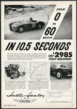 1955 Austin Healey 100 race car & engine photo vintage print ad