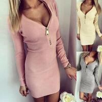 Women Zipper Long Sleeve Bodycon Dress Ladies Sexy Casual Party Plain Mini Dress