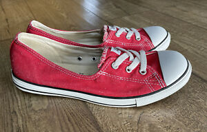 Converse Womens Slip On Canvas Plimsolls Sneakers Trainers Shoes Red UK 7.5