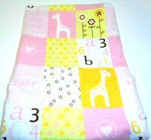 "Handmade Flannel ""Baby Girl"" Baby Receiving Blanket Swaddle 32 x 32"