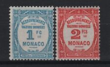 "MONACO STAMP TIMBRE TAXE 27/28 "" 1F BLEU CLAIR + 2F ROUGE "" NEUFS xx LUXE R683"