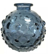 Dimpled Blue Small Glass Bottle Vase