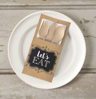 16 BROWN KRAFT PAPER CUTLERY HOLDERS LET'S EAT POUCHES PARTY TABLE DECORATIONS