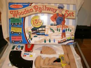 Melissa & Doug Deluxe Wooden Railway Train Set (Approx 130+ pieces) Preowned