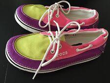 Crocs Boat Shoe Style Tie Shoes Purple, Pink, Green- Women's Size W 5