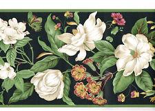 White Magnolia Dogwood Floral Flower Butterly Sage Green Black Wallpaper Border