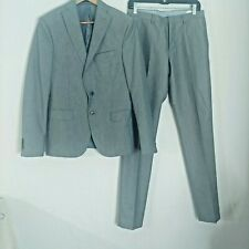 Zara Man Suit 36 2-Piece Tailored Fit Gray Textured Stitch Pant 31 Career Formal