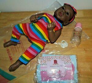 "23"" Hoomai Dark Skin Rooted Hair Doll Silicone girl Reborn Baby Doll Lifelike"