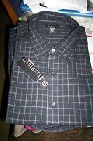 NWT  $50 VANHEUSEN NO IRON L/S DRESS SHIRT-BLACK CHECK-XL X-LARGE 18 18.5