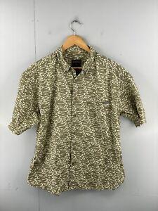 Woolrich Men's Vintage Short Sleeve Casual Button Up Shirt Size L Green