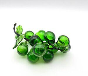 Green Art Glass Grape Cluster Hand Blown