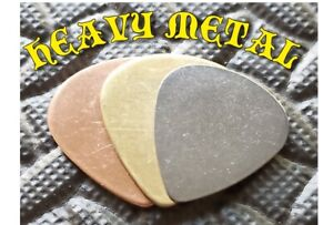 3 HEAVY METAL PLECTRUMS PICKS electric acoustic guitar stainless, copper, brass