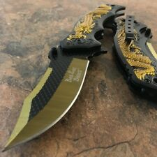 "8"" Gold Dragon Handle Spring Assisted Open Blade Folding Pocket Knife Switch NEW"