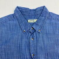 Faded Glory Button Up Shirt Men's Size 2XL 50-52 Short Sleeve Blue Chest Pocket