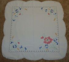 "Vintage Embroidered Table Cloth Flowers 36"" x 36"""