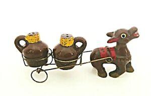 Japan Salt & Pepper Shaker Set Donkey Pulling a Cart Little Brown Jug 1960s