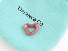Tiffany & Co MINT NEW Peretti Pink Rhodonite Open Heart Charm Pendant