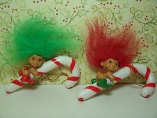 TWO ELF CANDY CANE ORNAMENTS - Russ Troll Dolls - NEW STORE STOCK