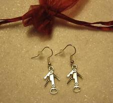 Bar tender barmaid waitress hostess bottle opener earrings beer wine corkscrew