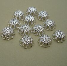 50pcs -Bright Silver Plated Bead Caps 12mm.
