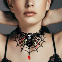 Women Retro Halloween Party Jewelry Spider Web Gothic Choker Black Lace Necklace