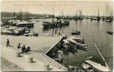 1904 Livorno veduta porto barce navi molo passanti carretto FP B/N VG ANIM