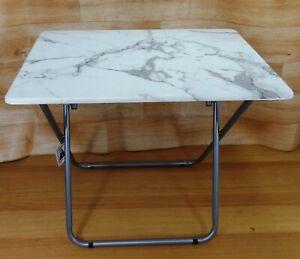 Grey / White Marble Effect Top Portable Folding Table H70cm x L74cm x W50cm UK