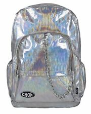CHOK HOLO SILVER STRIPE REFLECTIVE BACKPACK RUCKSACK Unisex School College Bag