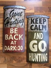 SET ~ Gone Hunting Deer Buck Man Cave Wall Sign Metal Cabin Lodge Christmas Gift