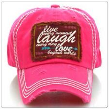 LIVE LAUGH LOVE Cap hat Cowgirl Western Gypsy Southwest PINK Factory Distressed