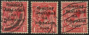 IRELAND 1922 PROVISIONAL Govt OVERPRINT 1d Varieties Broken n.. OPEN S +Broken R