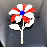 Vintage Enamel Red White Blue Flower Brooch Pin Patriotic Gold Tone Retro