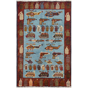 /10828/ 96 x 62 cm #ALLRUGO Afghan Hand-Knotted Helicopters Gun Blue War Rug