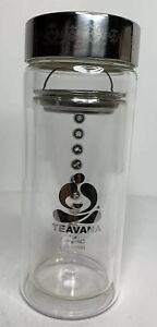 Teavana Tea Harmony Double Wall Glass Tumbler 11 oz With Stainless Strainer Lid