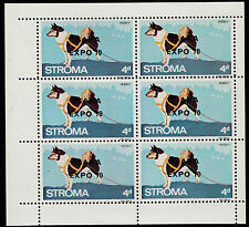 GB Locals - Stroma (1807) 1970 OSAKA EXPO opt on DOGS perf sheet of 6 u/m