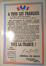 CDG A TOUS LES FRANCAIS VIVE LA FRANCE! AFFICHE LONDRES UK LONDON DE GAULLE