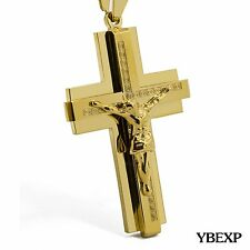 """20-36"""" MENS Stainless Steel Gold Black Silver Jesus Cross Pendant Necklace Chain"""