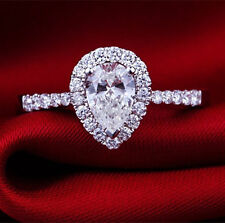 2CT Pear Shape Ring Solid 14K White Gold Diamond Ring Women Engagement Ring